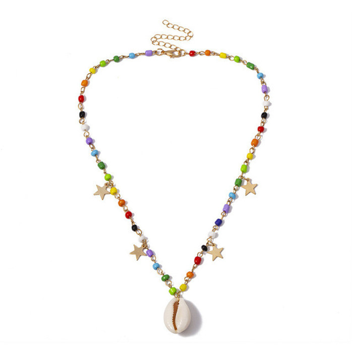 Crystal Star Shell Pendant Necklace