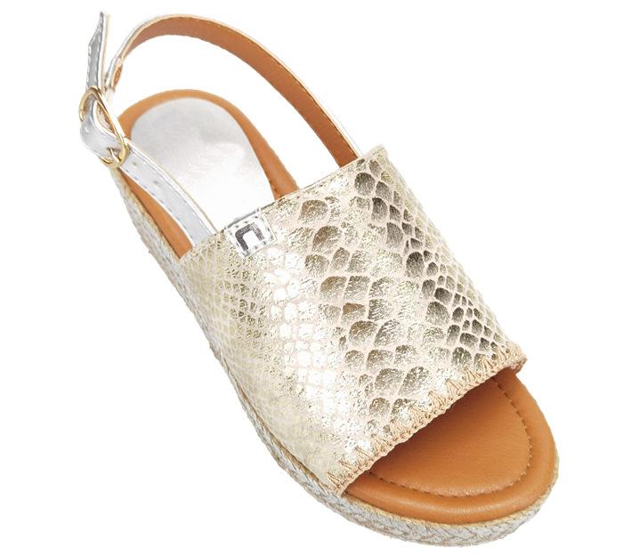 Crack PU jute kids sandals