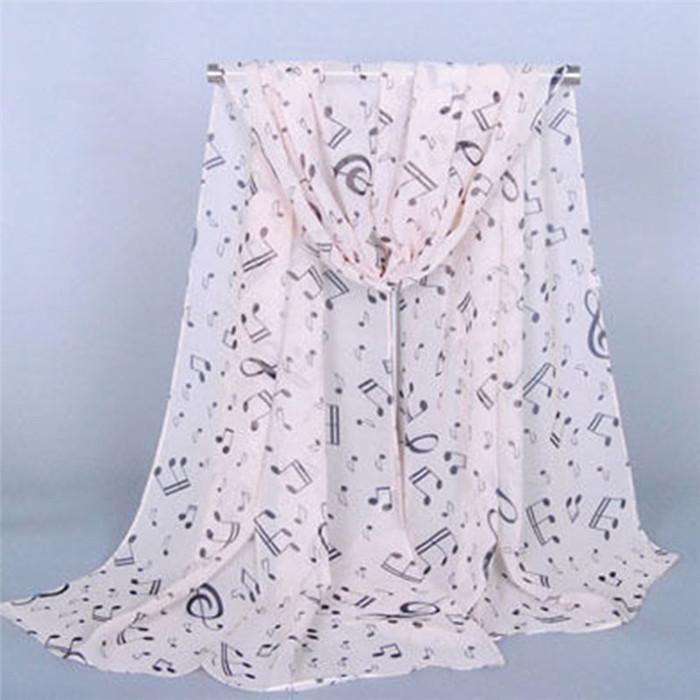 White Chiffon Printed Neck Scarf