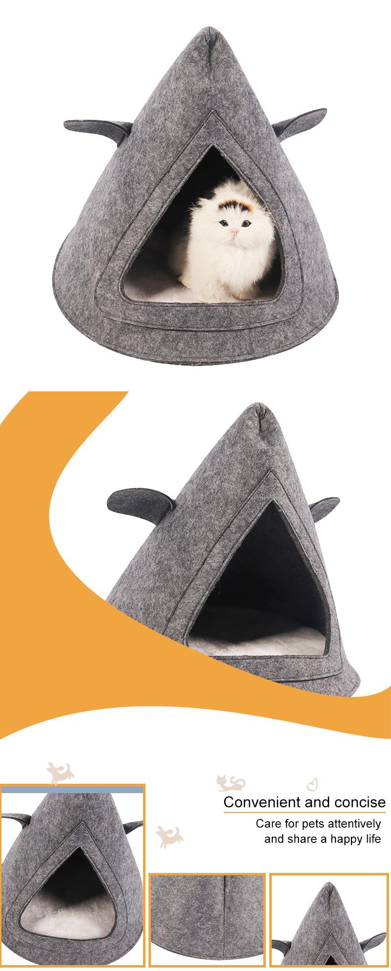 Triangle cat nest in grey felt cloth