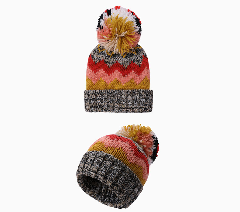 How to match knitted wool ball hat with clothing