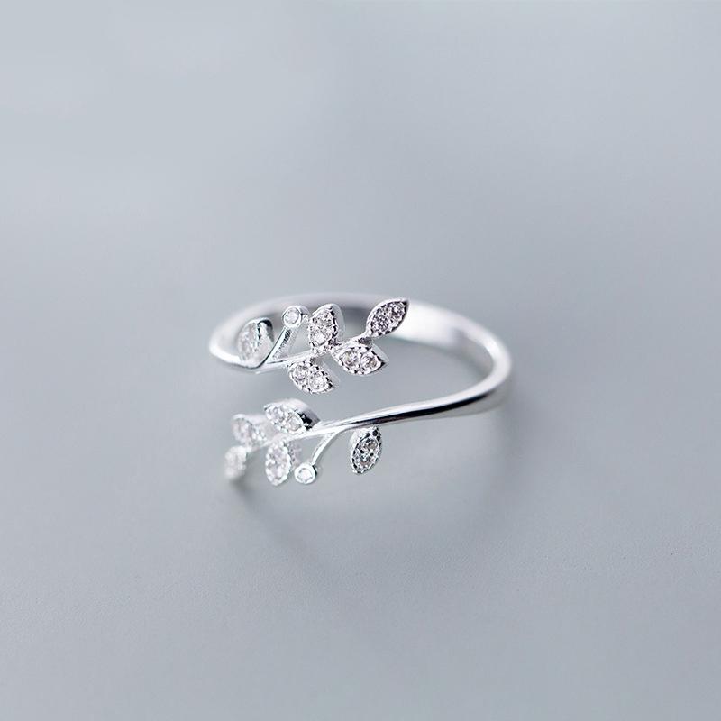 Crystal Leaf Rings
