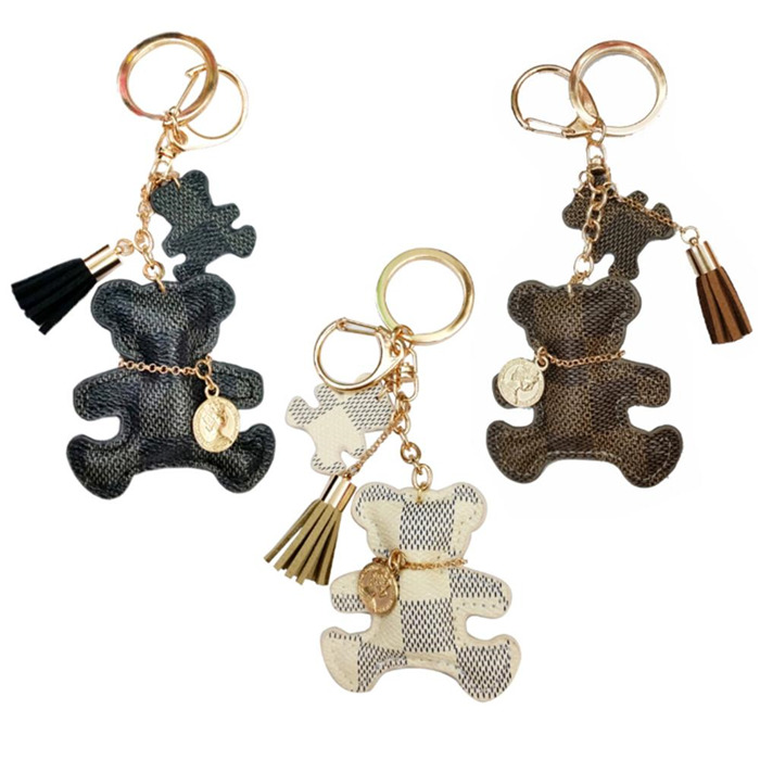 Tassel Faux Leather Bear Keychain