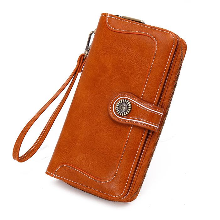 Wax oil leather wallet