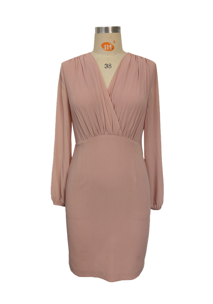 Pink shirring dress